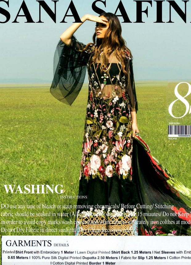 Beutifull lawn dress by sana safinaz in jet black color Model# L 1189