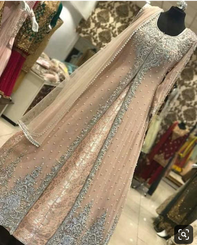 Nikah Bridal Long Maxi In Beautiful Pastel Pink Color.With Pearls Moti Nagh And Pure Dabka Work.