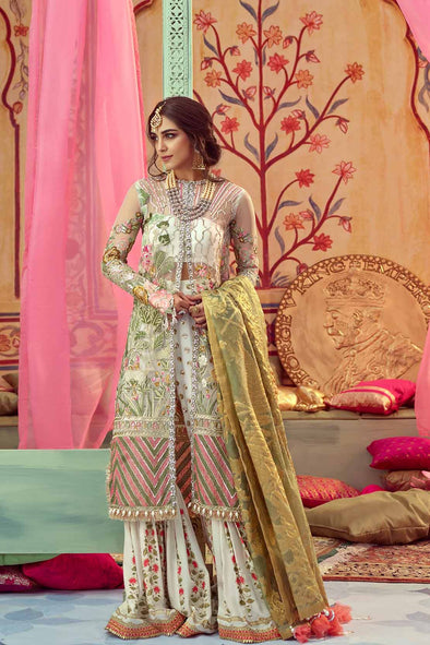 Off White Nikah Bridal Dress By Saira Shakira.Dress Based On Open Shirt And Sharara.Work Embellished With Tilla Threads Embroidery Sequance Pearls & Crystal Work.