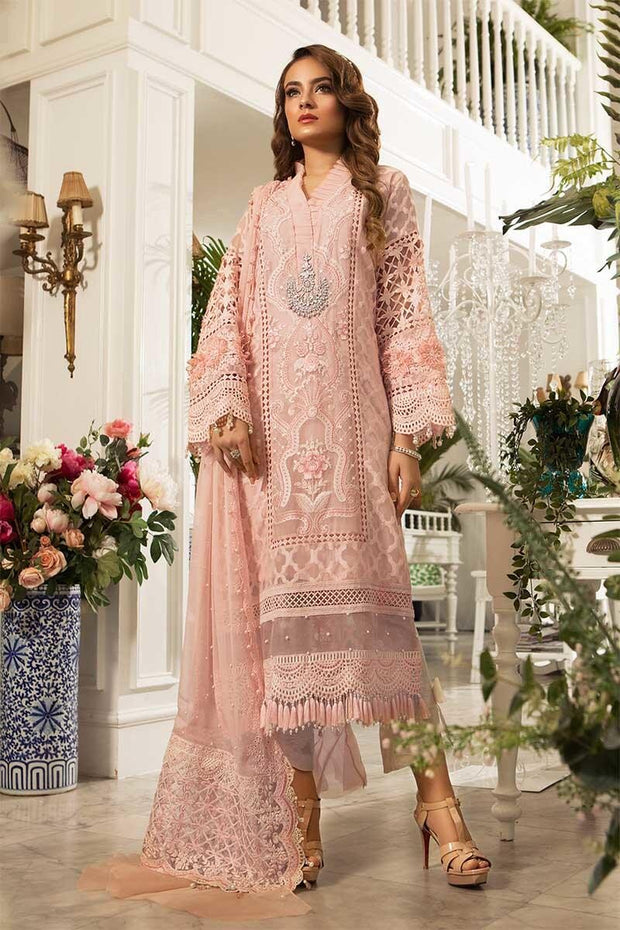 Festive Pink Dress 2019 By Maria B.Work Emballished With Chiken Kari Threads Embroidery And Pearl Work.