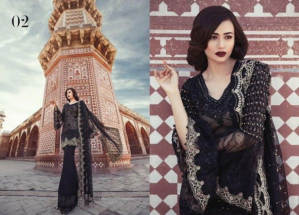 Black Chiffon Net Dress by Maria B Model# C 1614