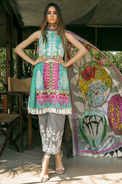 Beutifull lawn dress by sana safinaz in aqua green and gray color Model#L 1183