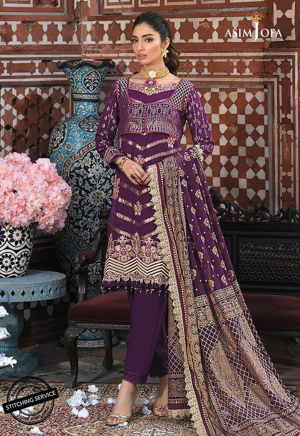 Fancy Eid Lawn Outfit in Plum Color