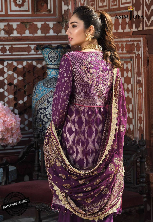 Fancy Eid Lawn Outfit in Plum Color  Backside View