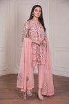 Fancy Pakistani dress in beautiful tea pink color