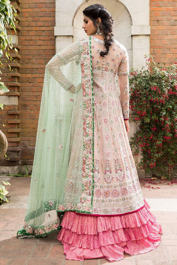 Elegant Pakistani fancy bridal dress in pink color