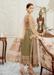 Embroidered fancy chiffon dress in lavish mehndi green color # P2282