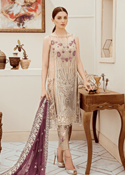 Pakistani  fancy chiffon outfit in decent grey color # P2284