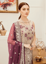 Pakistani  fancy chiffon outfit in decent grey color