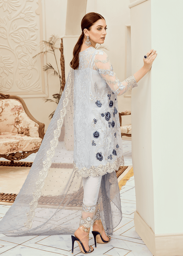 Beautiful Pakistani fancy embroidered dress in lilac color # P2280