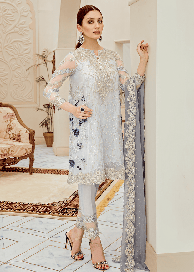 Beautiful Pakistani fancy embroidered dress in lilac color