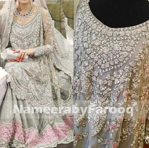 Grey Fershi Lahanga With Pink & SIlver Zaree Nugh Dabka Thread Flower Work Model#W 155