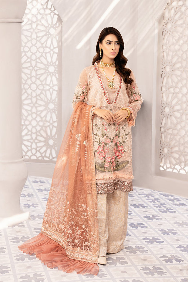Festive Embroidered Chiffon Outfit in Peach Color
