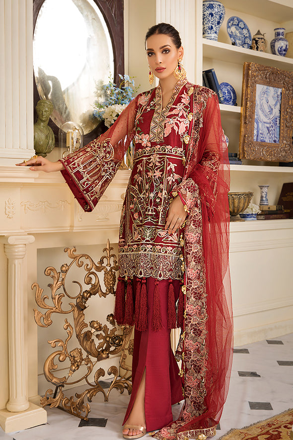 Pakistani Party Wear In Crimson Red Colour