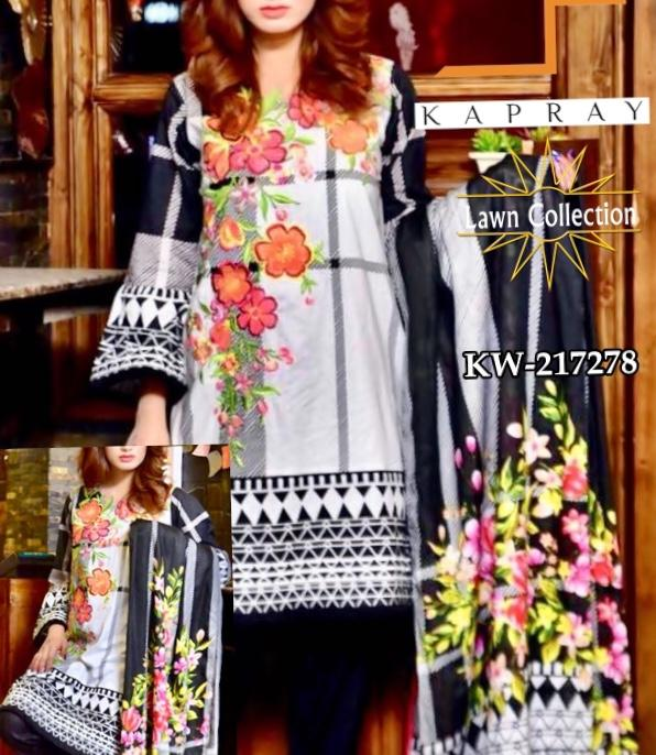 Floral Printed Pakistani Lawn Dress  Kapray Summer Collection