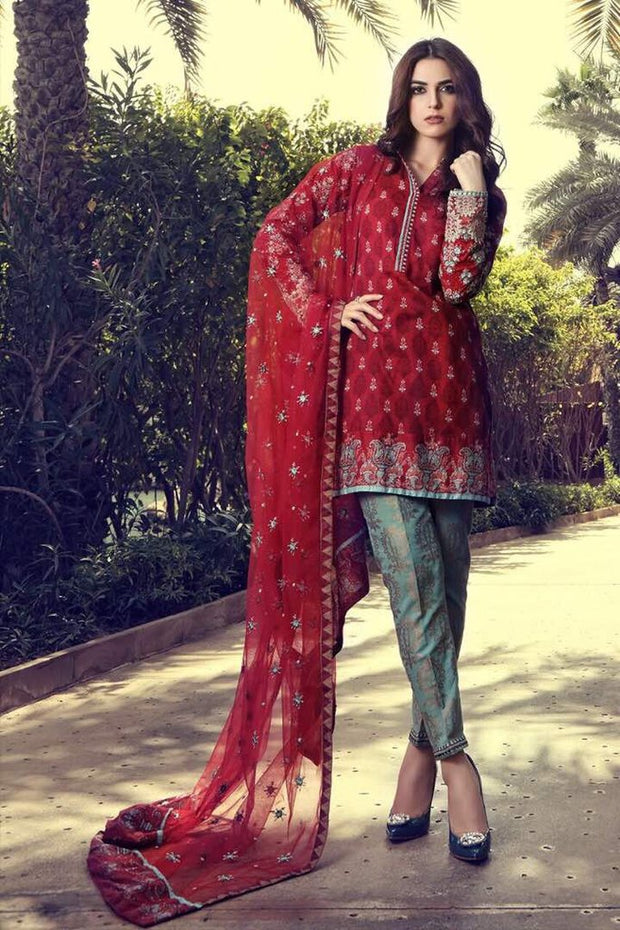 Floural Thread work Soft Chiffon Banarsi Jamawar Trouser Dress
