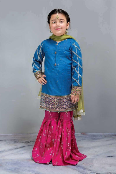 Formal Kids Designer Dress in Blue and Red Color  Kameez Gharara