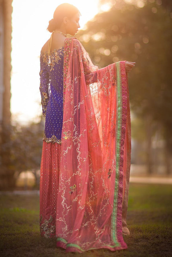 Formal mehndi lehnga dress in blue and peach color # B3321