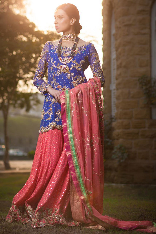 Formal mehndi lehnga dress in blue and peach color
