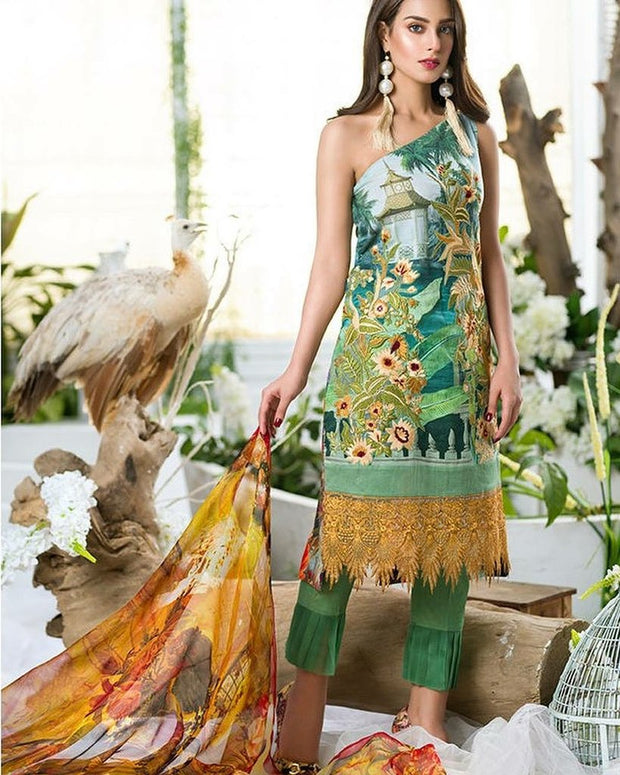 Fresh Bottel Green and Mustered color Lawn dress by Asifa Nabeel