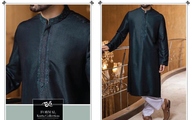 Gents Formal Designer Shalwar Kameez Sea green White shalwar
