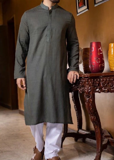 Gents Kurta Designer Dress Dark Green kurta White Shalwar