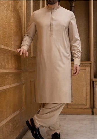 d82532a962 Gents Suit with Ban Neck Design Light Skin Gold Color – Nameera by Farooq