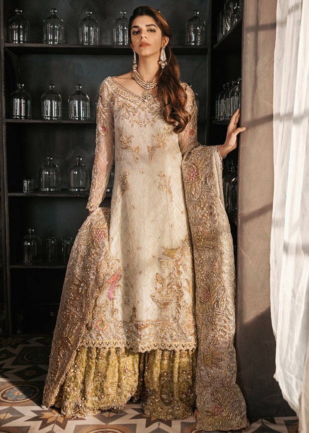 Latest Bridal Gharara in Gold Ivory