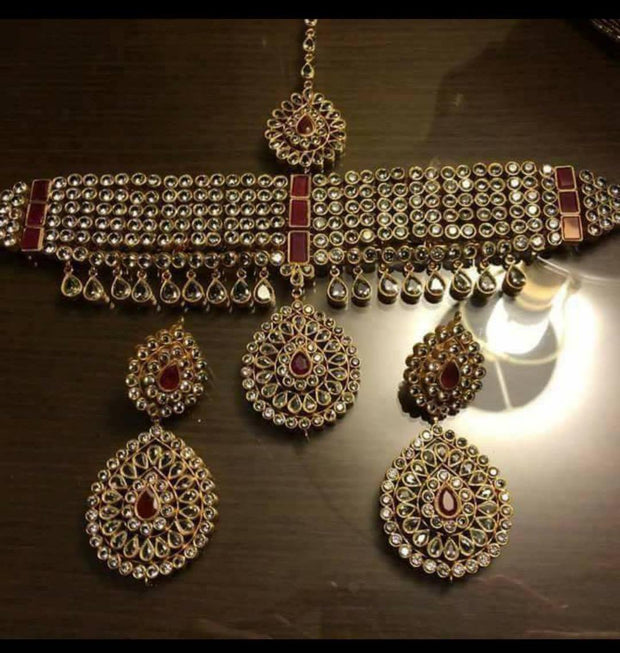 Gold Plated Kundan Choker Set #J4214