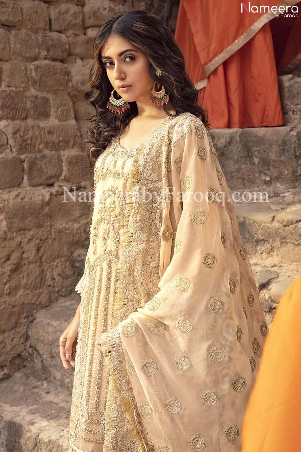 Golden color dress Pakistani