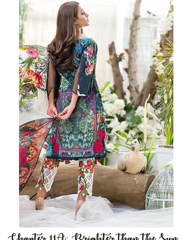 Gorgeous Fresh Floral Printed Embroidered Lawn Designer Dress