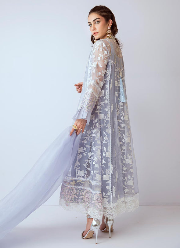 Pakistani gota embroidered dress in blue color # P2273