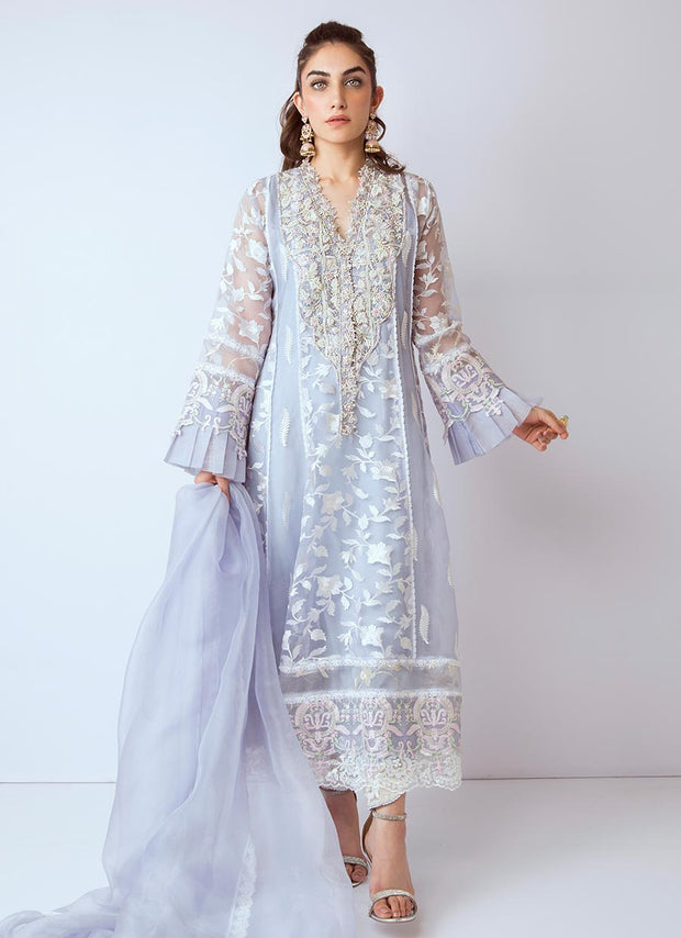 Pakistani gota embroidered dress in blue color