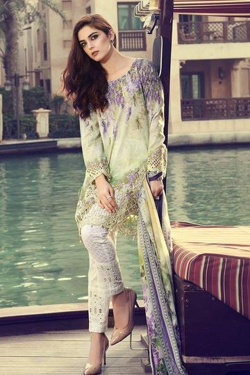 Pakistani Lawn Dress Chiffon Dopatta Maria B in USA