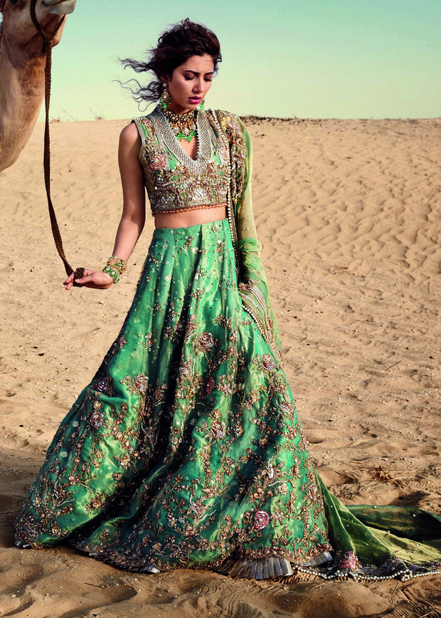 Indian Green Lehenga with Flared