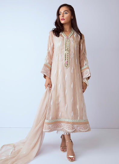 Beautiful hand worked Pakistani dress in beige color