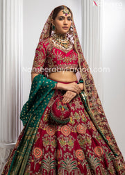 Heavily Embroidered Red Lehenga Bridal Attire