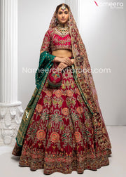 Heavily Embroidered Red Lehenga Bridal Attire Online