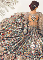 Heavy Bridal Lehnga Choli in Silver Color Backside Look