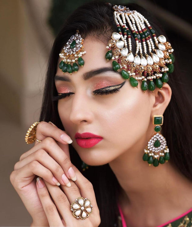Heavy Jhumar Tikaa with Earrings