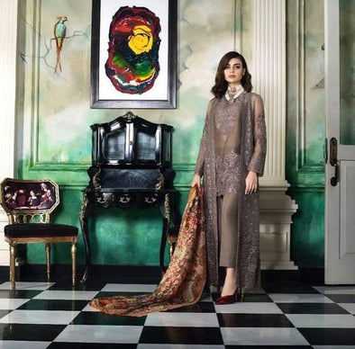 Chiffon Dress Honey Waqar | Threads Embroidery, Patches Work