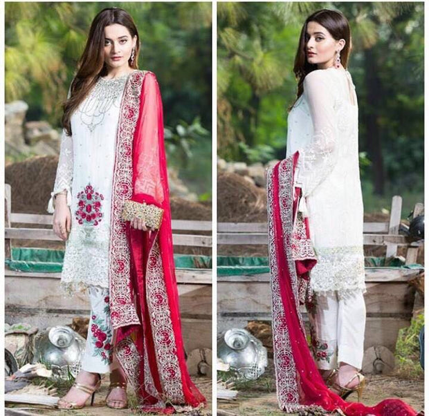 Beautiful chiffon dress by Imrozia in red and white color