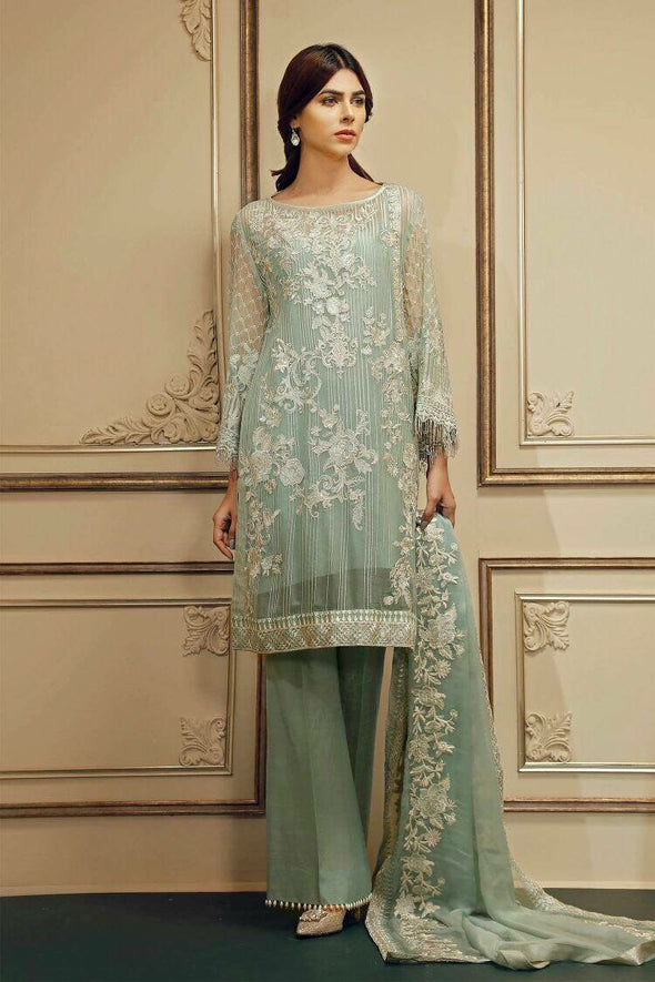 Pakistani Party Suit  In Chiffon By Chan-Tell In Light Turquoise Color Model# C 819