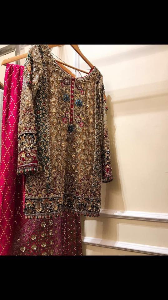 Pakistani Asian Beautiful bridal dress in golden Brown and red color Model #P 835