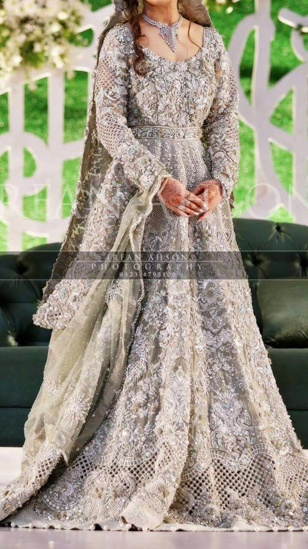 Pakistani bridal maxi in mint green color Model# W 834