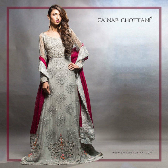 Beautifull bridal lahnga in gray and maroon red color Model#W 850