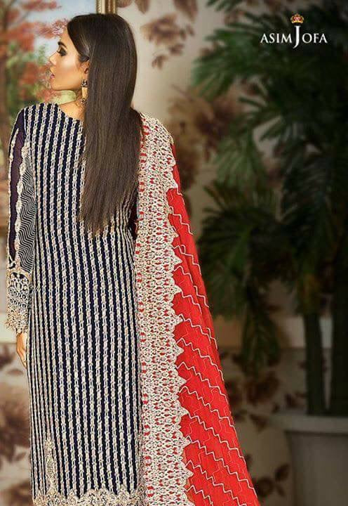 Beautiful chiffon dress by asim jofa in dark blue and red color