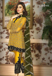 Beautiful chiffon dress by asim jofa in green yellow and dark green color