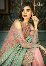 Beautiful chiffon dress by asim jofa in tea pink and mint green color