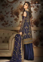 Beautifull chiffon dress by asim jofa in dark blue and dull golden color